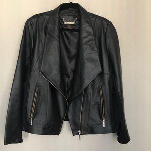 IMAN Motorcycle style black leather jacket